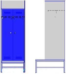 Шкаф двухсекционный на подставке со скамьей