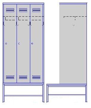 Шкаф трехсекционный на подставке со скамьей