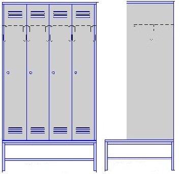 Шкаф четырехсекционный на подставке со скамьей