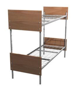 Кровать металлическая двухъярусная со спинками из ЛДСП К-О2