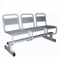 Секция из трех перфорированных стульев.