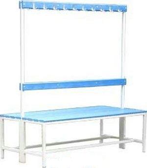 Скамья для бассейна со спинкой и вешалкой двусторонняя