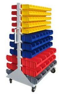 Стойка двухсторонняя для пластиковых ящиков на колесах