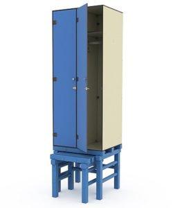 Шкаф 2-1 на подставке с выдвижной скамьей: купить в Москве по цене 34 522 руб | Интернет-магазин «Мебель Металлическая»