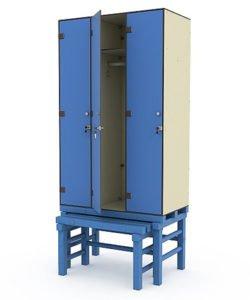 Шкаф 3-1 на подставке с выдвижной скамьей: купить в Москве по цене 47 730 руб | Интернет-магазин «Мебель Металлическая»