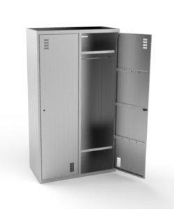 Шкаф для одежды ШК-100/50 из нержавейки: купить в Москве по цене 39 000 руб | Интернет-магазин «Мебель Металлическая»