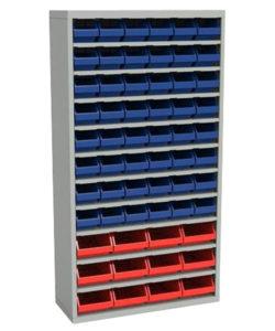 Стеллаж закрытый с пластиковыми ящиками ЗС.5003.12.5002.48: купить в Москве по цене 35 000 руб | Интернет-магазин «Мебель Металлическая»