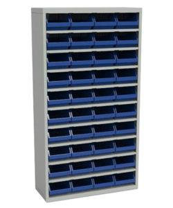Стеллаж закрытый с пластиковыми ящиками ЗС.5003.40: купить в Москве по цене 35 000 руб | Интернет-магазин «Мебель Металлическая»