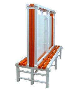 Скамья-вешалка двухсторонняя с перегородкой HPL: купить в Москве по цене 28 000 руб   Интернет-магазин «Мебель Металлическая»