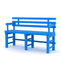 Скамья пластиковая со спинкой и подлокотниками: купить в Москве по цене 8 000 руб   Интернет-магазин «Мебель Металлическая»