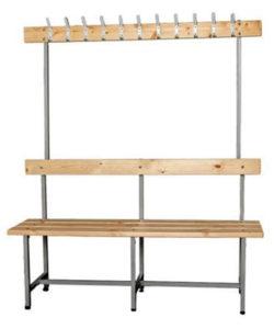 Скамья для раздевалки СВТ-6 с вешалкой: купить в Москве по цене 7 200 руб | Интернет-магазин «Мебель Металлическая»