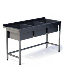 Ванна моечная сварная трехсекционная (AISI 304): купить в Москве по цене 29 700 руб | Интернет-магазин «Мебель Металлическая»