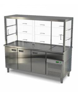 Витрина холодильная 3 двери (охлаждаемый нижний объем): купить в Москве по цене 214 600 руб | Интернет-магазин «Мебель Металлическая»